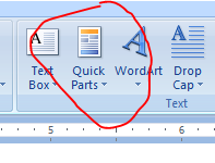 Snip showing Quick Parts in Ribbon